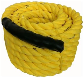 Battle Rope 32mm Thickness Exercise & Fitness Training Equipment Rope (Yellow, 90m - 32mm)
