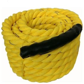 Battle Rope 80m - 32mm Thickness Exercise & Fitness Training Equipment Rope (Yellow)
