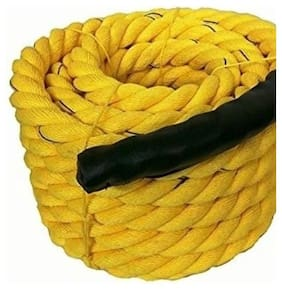 Battle Rope 25m -32mm Thickness Exercise & Fitness Training Equipment Rope (Yellow)