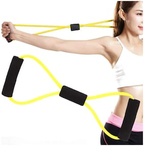 Bazaar Gali 8 Shape Resistance Band/Pull Rope/Stretch Band Workout/Exercise/Yoga/Fitness and Gym for Men's and Women's (Assorted Color) 1 pc