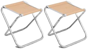 Benison India Collapsible Chair Fishing Chair Camping BBQ Stool Folding Extended (Set of 2)