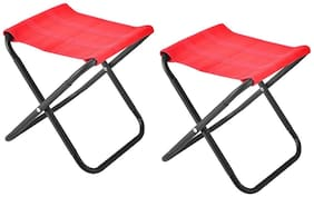 Benison India Compact Lightweight Stool Folding Extended Seat Aluminium Alloy Ultralight Detachable Office Home Camping Fishing(Set of 2)