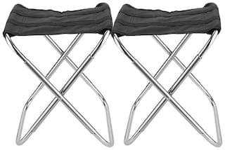 Benison India Foldable Stool Portable Travel Chair Four-Leg Stool for Outdoor Travel(Set of 2)