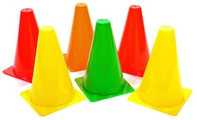 BEST QWALITY SportsTraining Cones 6 inch / Space Markers Set of 6