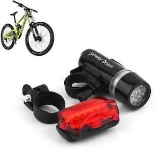 BG Bazzar Gali Bike Bicycle Waterproof Bright Beam Head Rear Tail 5 Led Light (5 LED Bulb each in Head/Tail Light)