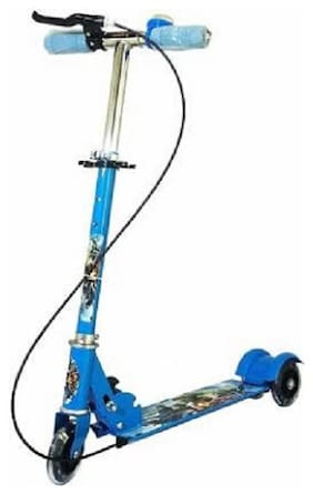 NISWA Big Size Skate Scooter for Kids with 3 Wheels and 3 Position Adjustable Height (blue)