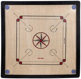 Bogan- TERBO Carrom Board (Beige, Brown, Black) Size-M