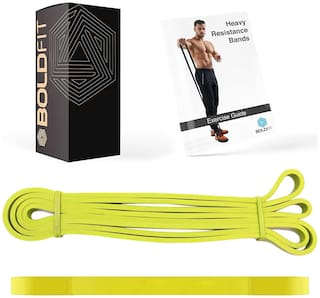 Boldfit Heavy Resistance Band for Exercise & Stretching Suitable in Home & Gym Workout for Men & Women. (Yellow 3-7kg Resistances)