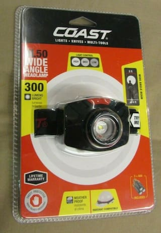 Brand New Coast Grade HL50 300 Lumen LED Wide Angle HeadLamp w/Light Control