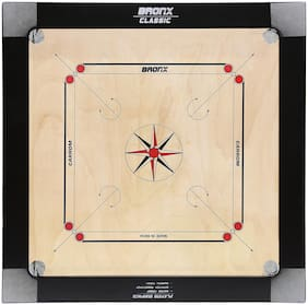 Bronx Classic Carrom Board 30 inch Playing area and 6 mm thick Ply (Coins, Striker & Powder)
