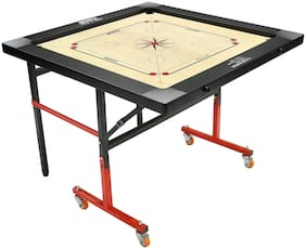 Bronx Fold N Roll Large Size Carrom Board with Foldable frame & 50 mm wheel (Coins, Striker & Powder)