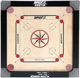 Bronx Kidstar Carrom Board 18 inch Playing area and 4 mm thick Ply (Coins, Striker & Powder)