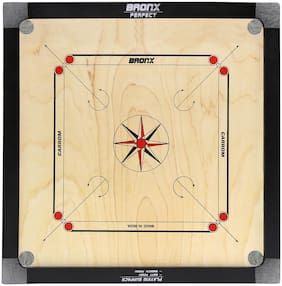Bronx Perfect Medium Size Carrom Board 24 inch Playing area and 4 mm thick Ply (Coins, Striker & Powder)