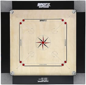 "Bronx Supreme 100% water proof Carrom Board 30"" Playing area and 12 mm thick Ply (Coins, Striker & Powder)"