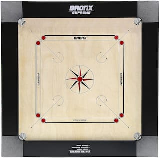 """Bronx Supreme 100% water proof Carrom Board 30"""" Playing area and 12 mm thick Ply (Coins, Striker & Powder)"""