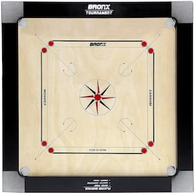 Bronx Tournament Carrom Board 30 inch Playing area and 12 mm thick Ply (Coins, Striker & Powder)