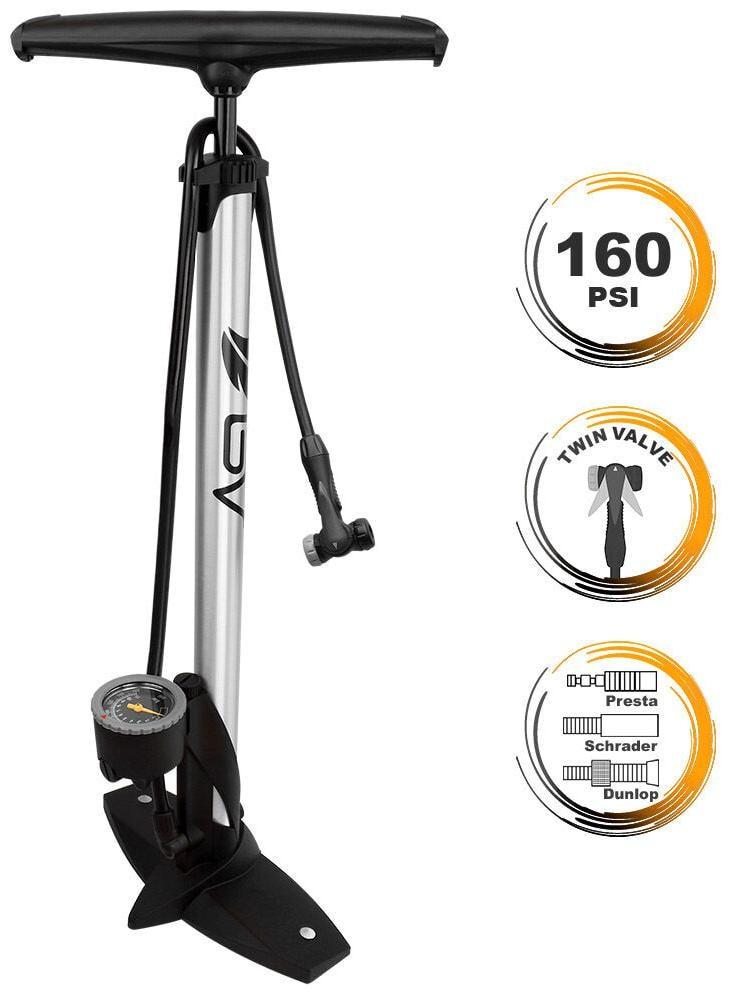 BV Bike Floor Pump Steel w// Gauge Presta /& Schrader Compatible 160 psi NEW GF55P