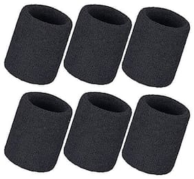 CASHWIN Combo of 6 Black Tennis Wristband (Pack Of 3-Pair )