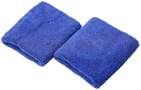 CASHWIN High Quality Sports Wrist Band Supporter Sweat Band-Blue (1 Pair)