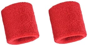 CASHWIN High Quality Sports Wrist Band Supporter Sweat Band-Red (1 Pair)
