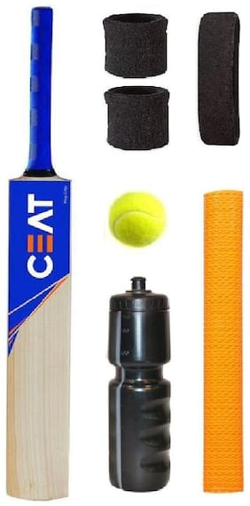 CEAT Sticker Popular Willow Cricket Bat (For Tennis Ball) Size-5 Combo (Kit of 7 Items)