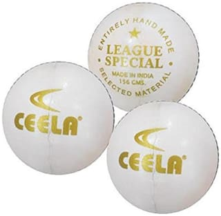 Ceela Sports League Special Cricket Ball - White (Set of 3)