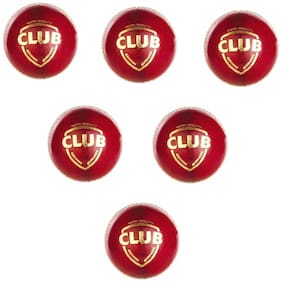 CLUB CRICKET LEATHER BALL[PACK OF 6]