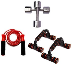 Combo of 1 kg Dumbbell Pair, Push Up Stand and Skipping Rope Gym & Fitness Kit