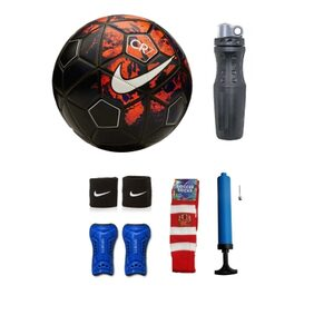 Combo of Football (Nike CR7 REPLICA) with Air Pump, Sipper, Pair of Wrist Band, Shin Guard & Soccer Socks