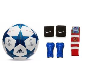 Combo of Football (Adidas Brazuca REPLICA) with Air Pump, Pair of Soccer Socks & Shin Guard