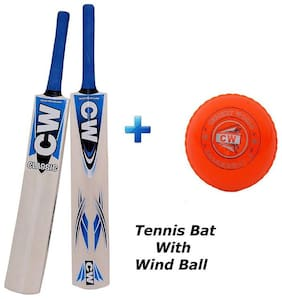 """Combo Pack of CW Classic High Quality Ultra Light Weight Popular Willow Tennis Cricket Bat With 2 (Two) PVC """"Wind"""" Orange Practice Cricket Balls"""