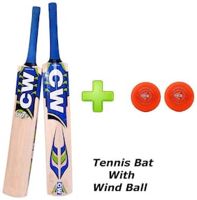 """Combo Pack of CW Men's """"Speed"""" Premium Quality Light Weight Kashmir Willow Sports Cricket Bat Full short Handle with 2 (Two) PVC """"Wind"""" All Orange Red Practice Cricket Ball"""