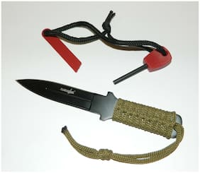 Compact Flint Magnesium Fire Starter Kit + Full Tang Throwing Survival Knife NEW