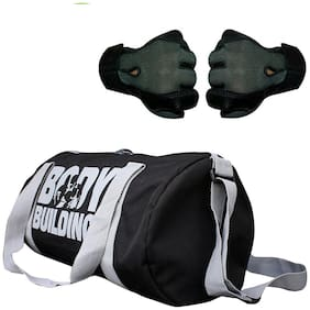 CP Bigbasket Combo Set Polyester 40 L Black Sport Gym Duffle Bag Netted Gym & Fitness Gloves (Grey)