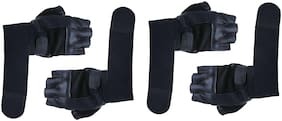 CP Bigbasket (Pack of 2) Leather Palm Support Weight Lifting Wrist Support Gym & Fitness Gloves (Free Size, Black)