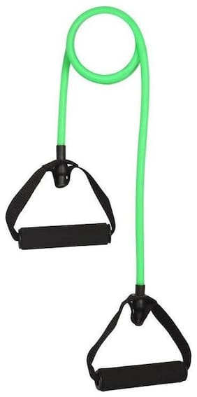 CP Bigbasket Toning Tube Resistance Bands / Cord Pulley TPR Foam For Exercise Fitness Pilates Strength Training with Foam Handles Green - Medium Resistance