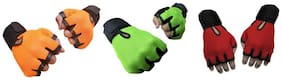 CP Bigbasket Pack of three (3) Netted with Wrist Support Gym & Fitness Gloves (Free Size) orange-green-red
