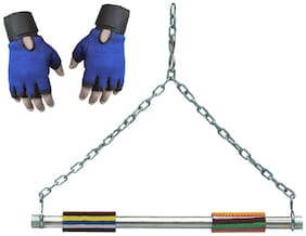 CP Bigbasket Chain Height, Hangging Rod With Gym Gloves(Blue)