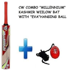"""CW Combo Pack of Top Grade Kashmir Willow (Millennium) Full Short Handle Cricket Bat With """"EVA"""" Red Synthetic PVC Batting Practice Hanging Cricket Ball"""