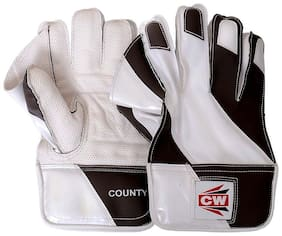"""CW """"County"""" Men's Size High Quality P.U Material Made New Design White Black Wicket Keeping Gloves"""
