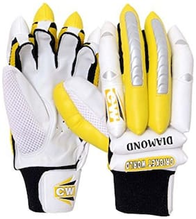CW  Diamond Batting Glove In P.U Fingers with Leather Palm