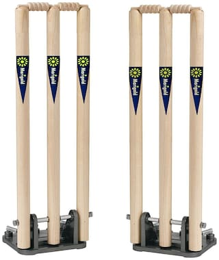 CW MARIGOLD WOODEN CRICKET SPRING BACK WICKETS SET WITH BAIL WITH HEAVY BASE (SET OF 2 WICKET SET)
