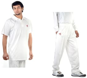 CW White Men's Cricket Pair Half Sleeve Cricket Shirt With Full Length Cricket Trousers (Pant) Comfortable Fit Performance Pair In Cotton Dry-fit