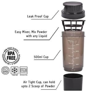 Cyclone Protein Shaker Bottle with Compartment 500ml ( Assorted Colors )