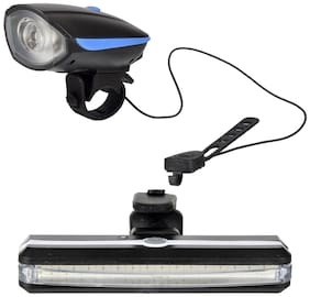 Dark Horse Bicycle USB Rechargeable LED Front Light & Horn & LED 6 Mode Tail Light USB with Red & Blue Lights;Blue