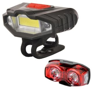 Dark Horse Bicycle Imported CE Standard USB Rechargeable Super Bright Front Light with Red Warning Light Feature & 1 W 3 Mode Twin Eye Rear Light Battery Combo/Set