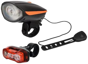 Dark Horse Bicycle USB Rechargeable LED Front Light & Horn & LED Tail Light Battery with Red & Blue Lights;Orange