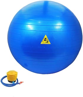 DE JURE FITNESS Gym Ball for Exercise & Fitness with Foot Pump Anti Burst Blue Colour 75 cm Gym Ball  (with Pump)