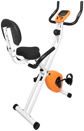 Dolphy Folding Exercise Bike, Fitness Upright ,Aerobic Trainer X-Bike with 8-Level Adjustable Resistance, Arm and Backrest