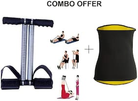 Double Spring Tummy Trimmer with Hot Shaper Belt (2XL Size) Ab Exercise Workout for Men & Women(Combo Offer)
